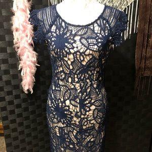 Soieblu Crocheted Dress w/ Beige Lining